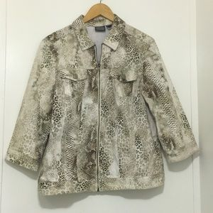 Additions by Chico's snake skin jacket size 2